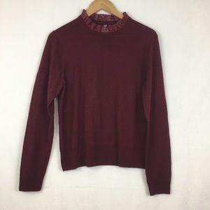 J. Crew Tippi Lace Collar Detail Sweater Sz XL